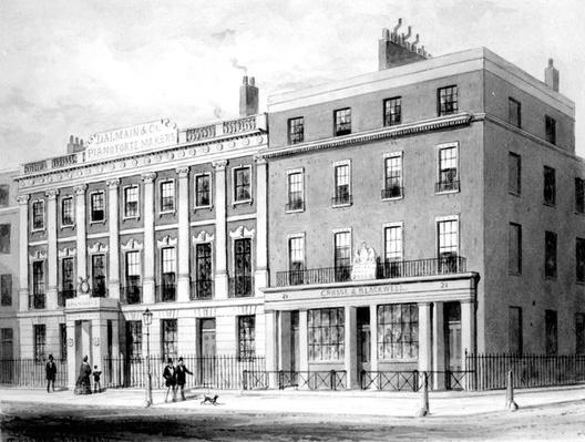 View of the Building for d'Alemaine & Co. on Soho Square, drawn by Thomas Hosmer Shepherd, 1854