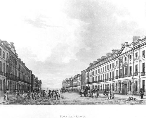 "Portland Place, taken from ""Picturesque Tour"" published by Thomas Malton, 1800"