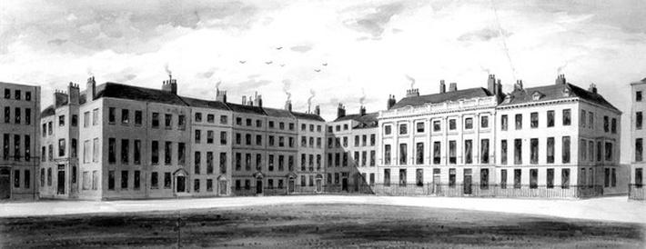 View of the North Side and East Side of Soho Square, by J. Richardson, 1854