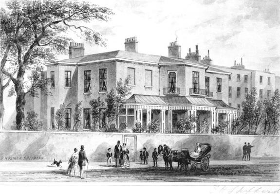 North west view of Camelford House, drawing by Thomas Hosmer Shepherd, 1850