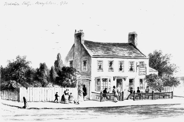 View of the new Yorkshire Stingo Public House in Paddington, drawn by Thomas Hosmer Shephard, 1860-1859