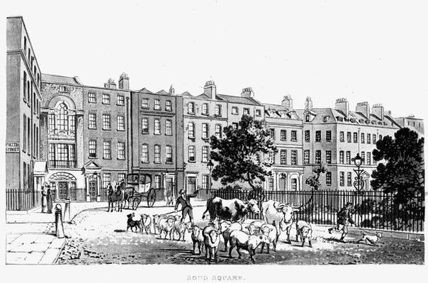 "South West Corner of Soho Square, taken from J.B. Papworth's ""Select Views of London"" 1816"