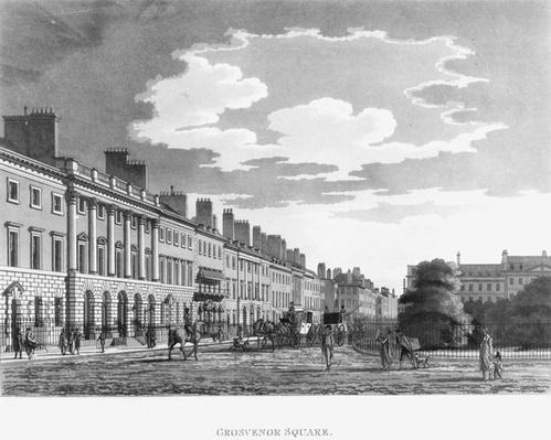 North Side of Grosvenor Square in the 18th or early 19th Century, published by John Malton, 1800
