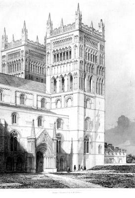 "Durham Cathedral, taken from ""Architectural Illustrations and Description of the Cathedral Church at Durham"", after R. W. Billings, 1843"