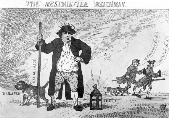 The Westminster Watchman, by Thomas Rowlanson, 1784