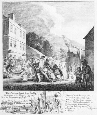 The Painters March from Finchley, print by Paul Sandy, 1753
