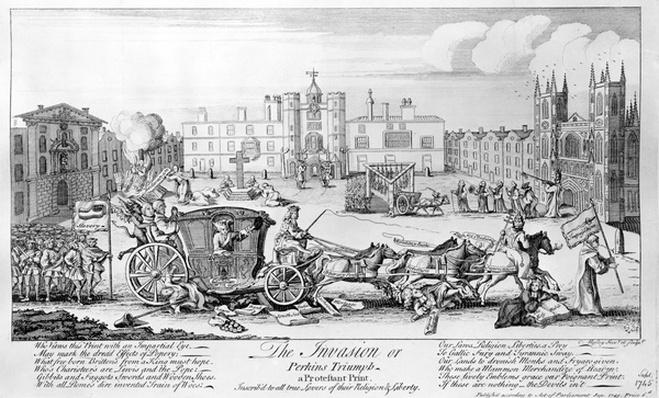 The Invasion or Perkins Triumph - a Protestant Print, inscrib'd to all true lovers of their Religion and Liberty, 1745