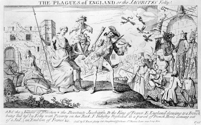 The Plagues of England, or the Jacobites Folly, published by Thomas Ewart, 1745