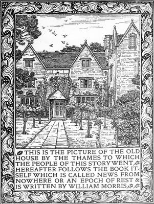 Kelmscott Manor in the frontispiece to 'News from Nowhere' by William Morris, Kelmscott Press edition, 1893
