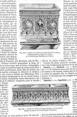 """Lavoir, taken from """"Le Dictionnaire de l'Ameublement et de la decoration depuis le XIII siecle jusqu'a nos jours"""", 1887-1890"""