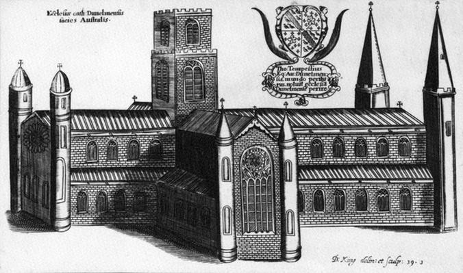 "The Southern Exterior of Durham Cathedral, taken from ""The Cathedeal and Conventuel Churches of England and Wales"" by Daniel King, circa 1660"