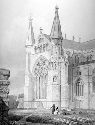 North End of Durham Cathedral, engraved by J. H. LeKeuc after R. W. Billings, 1843