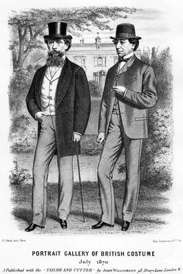 Portrait Gallery of British Costume, presenting Charles Darwin and Benjamin Disraeli, published with the Tailor and Cutter, 1870