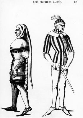 """Illustration taken from """"Histoire du costume en France depuis les 18e si�cle"""" by Jules Etienne Joseph Quicherat, 1877"""