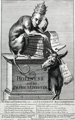 "His Holiness and His Prime Minister, taken from ""Pope Alexander"", 1729"