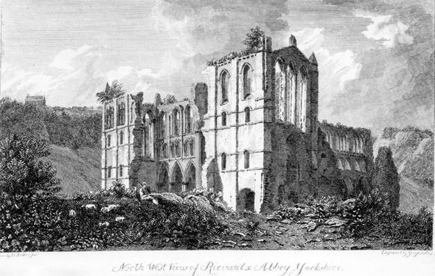 Rivaulx Abbey, Yorkshire, illustration taken from the Gentleman's Magazine, made by George Hollis after John Chessell Buckler, 1821