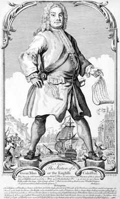 The Stature of a Great Man or an English Colossus, by George Bickham the Younger, 1740