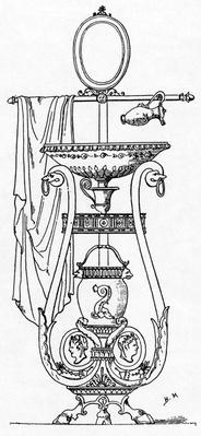 Empire style Lavabo, engraving after the design of Charles Percier, 18th/19th Century