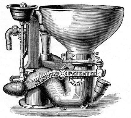 "Jenning's Improved Bramah Valve Closet, taken from ""A New Technical Educator: An Encyclopedia of Technical Education"", published by Cassell, 1870"