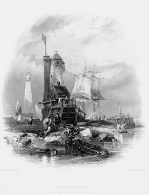 Sunderland Lighthouse on the South Pier, by E. Finden after G. Balmer, published in 'Ports, Harbours and Watering Places' by E. Finden, 1842