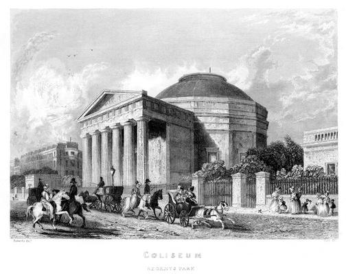 Coliseum, Regent's Park, engraved by S. Cox after James Roberts I, 1837