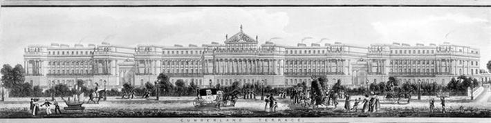 The Cumberland Terrace, a detail from A Panoramic View around Regent's Park, published by Ackermann, 1831