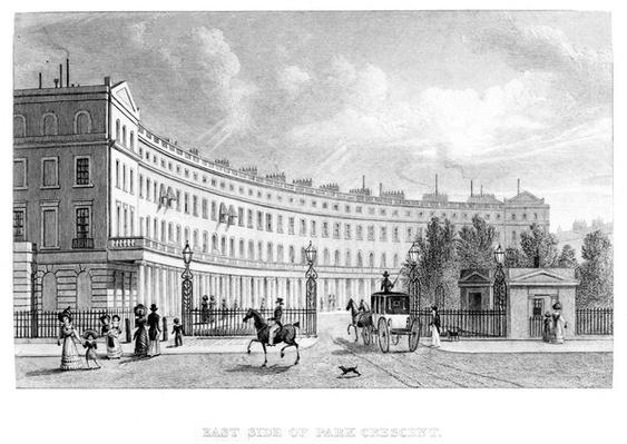 East Side of Park Crescent, by James Redaway after Thomas Homer Shepherd, 1827-1830