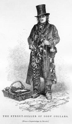 The Street Seller of Dogs' Collars, illustration taken from The London Labour and the London Poor by Henry Mayhew, circa 1840