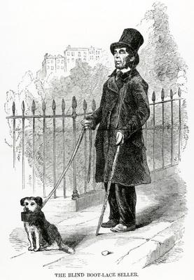 The Blind Boot-Lace Seller, illustration taken from the London Labour and the London Poor by Henry Mayhew, circa 1840