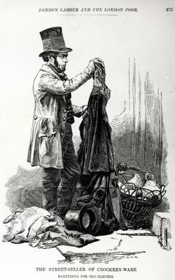 Street-Seller of Crockery Wine Bartering for Old Clothes, illustration taken from The London Labour and the London Poor by Henry Mayhew, circa 1840
