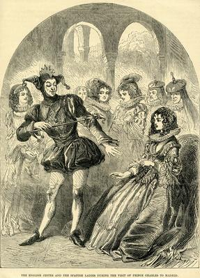 The English Jester and the Spanish Ladies during the visit Prince Charles to Madrid