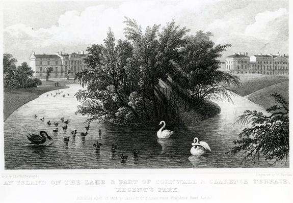 An island on the lake and part of Cornwall and Clarence Terrace, Regent's Park