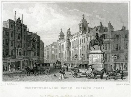 Northumberland House, Charing Cross. Bish's Lottery Office, No 9 Charing Cross, is next door to the Golden Cross Hotel