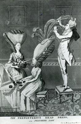 The Preposterous Head Dress, or the Featherd Lady, 1776