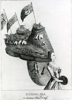 Bunkers Hill, or America's Head Dress, 1776