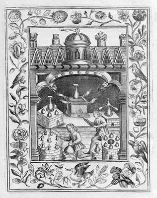 "Alchemical laboratory showing various forms of furnace and vessels, taken from ""Theatrum Chemicum Britannicum"" by Elias Ashmole, 1652"