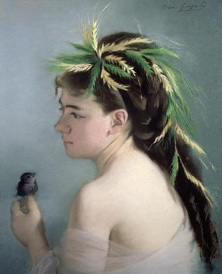 Portrait of a Girl holding a Sparrow