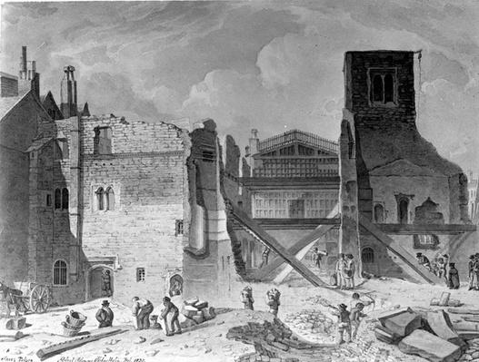 View of the Demolition of the Savoy Palace, Westminster, London, by Robert Blemmell Schnebbelie, 1820