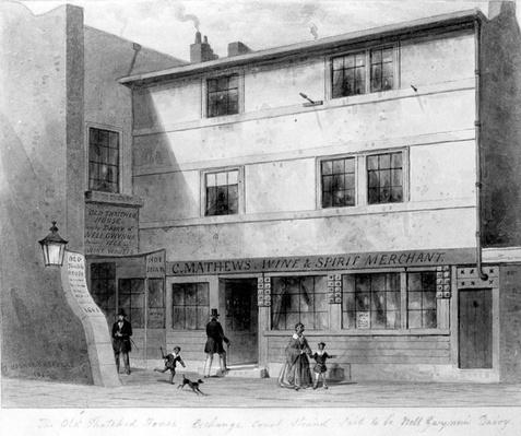 View of Old Thatched House, Exhange Court on the north side of the Strand, drawn by Thomas Hosmer Shepherd, 1853