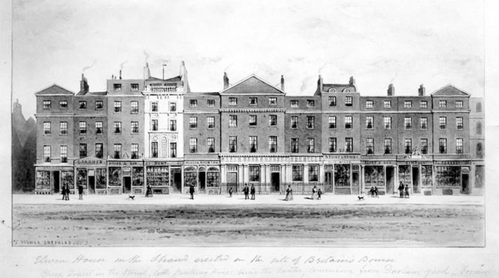 View of Eleven Houses erected on the site of the old Bourse on the Strand in 1853, drawn by Thomas Hosmer Shepherd, 1853