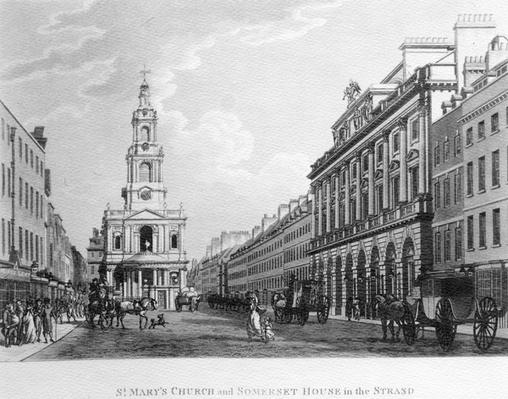 St. Mary's Church and Somerset House in the Strand, by Thomas Malton, 1796
