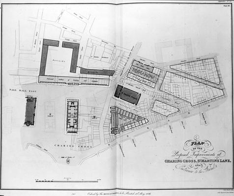 Plan of the Proposed Improvements at Charing Cross, St. Martin's Lane and Entrance to the Strand, engarved by James Basire, 1826