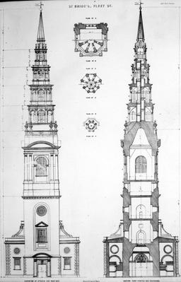 St. Brides, Fleet Street, Elevation of the West End, 18th Century