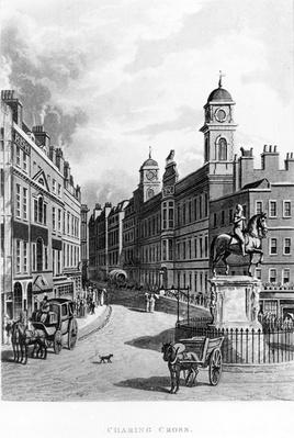 Charing Cross, looking up the Strand, taken from Select Views of London, published by Ackermann, 1811