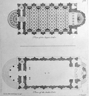 Plan of the Upper and the Lower Orders of St. Mary's Le Strand, Westminster, engraved by John Harris, circa 1720