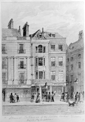 Old Entrance to the Crown and Anchor Tavern on the South Side of the Strand, drawn by J Findlay, 1851