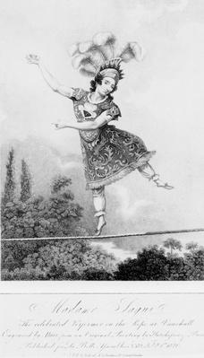 Madame Saqui, the celebrated performer on the rope at Vauxhall Gardens, London
