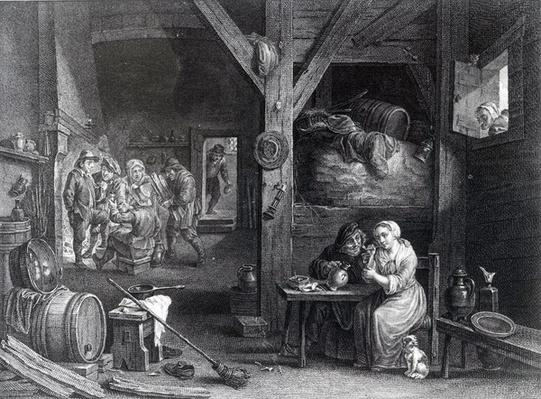 La Fumeuse, print by Jean Baptiste Patas after David Teniers the Younger, 1786-1808