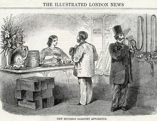 New Movable Gaslight Apparatus, taken from the London Illustrated News, 1861