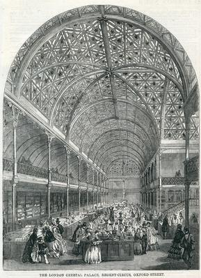 The London Crystal Palace, Regent Circus, Oxford Street, taken from the Illustrated London News, 1858
